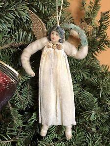 1880's German spun cotton snow angel in a crepe dress