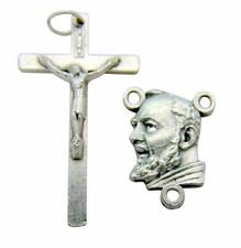 10 Piece Rosary Set 5 Crucifix & 5 Saint Padre Pio Centerpieces Made in Italy