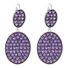 Rhodium Over Sterling Silver 7.8ctw African Amethyst Drop Earrings 1.8'L