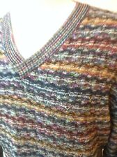 MISSONI SPORT VINTAGE SWEATER, 1980'S MULTI COLOR V-NECK  SZ XL
