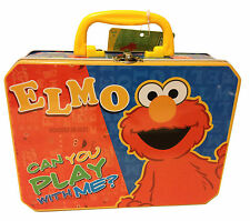 Tin Metal Lunch Snack Toy Box Sesame Street Elmo Can You Play With Me NEW