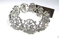 $125 Carolee Silver-Tone Geometric Clear Crystal Hinge Bracelet