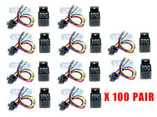 100 PAIR 30/40 AMP 12V BOSCH STYLE RELAY & HARNESS SOCKET SPDT 100% COPPER WIRES