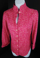 Lilly Pulitzer Size 2 Pink Floral  Shirt Button Front 3/4 Sleeve Womens Top