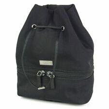 Auth GUCCI Logos Nylon Canvas Leather Drawstring Pouch Mini Bag Italy 7703bkac