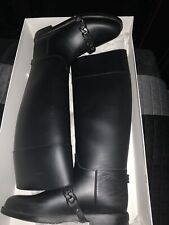 GIVENCHY Rubber Riding Equestrian Black Chain Rain Boots Size 39 US size 8.5