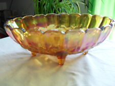 Carnival Glass Fruit Bowl Footed Oval Iridesent  Marigold Scalloped