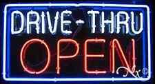 "BRAND NEW ""DRIVE-THRU OPEN"" 37x20x3 BORDER REAL NEON SIGN w/CUSTOM OPTIONS 10414"