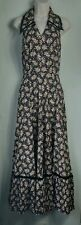 Ladies Vintage Dress Halterneck sleeveless prom Full Length maxi floral