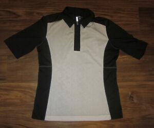 Callaway Womens Short-Sleeve 1/4-Zip Shirt, Black & White, Size M, EUC