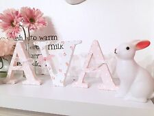 Shabby Chic Personalised Free Standing Floral Polka Dot Wooden Letter Initial