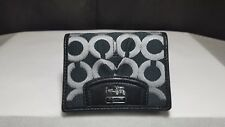 Coach Madison Wallet Op Art Small Black Sateen Bifold Patent Leather 43255 W7