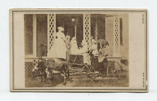 CDV WOMAN, CHILDREN AND DOG. MULE DRAWN BUCKBOARD. BOSTON, MASS.