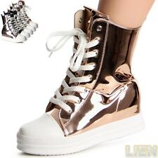 Ladies' Shoes Wedge Trainers High-Top High Shaft Hidden Wedges Metallic