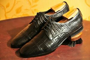 ZILLI Black Genuine Alligator Derby Shoes UK 6 / US 7 / EU 40 Made in Italy