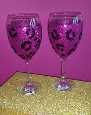 2 caliente rosa leopardo vino brillo medio Gafas cumpleaños regalo de Navidad Presente