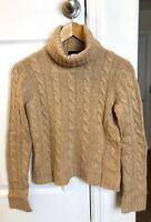 J. CREW PETITE black Label Tan Cable Knit Turtleneck Sweater Wool Blend Size PS
