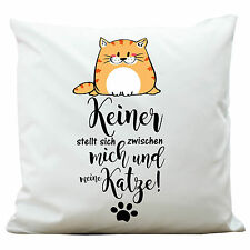 """Pillow """" I and My Cat """" Pet from Wandtattoo-Loft KP270 Polyester White"""