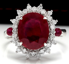 7.75 Carats Natural Red Ruby and Diamond 14K Solid White Gold Ring