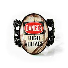 Vintage Danger High Voltage Industrial Sign Black Adjustable Glass Filigree Ring