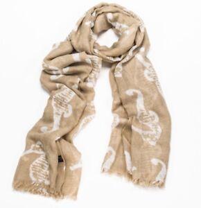 BNWT Light Brown Seahorse Lino Print Cute Unusual Scarf Sarong Hijab Headscarf