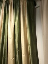 "100% SILK Taffeta LINED CURTAIN DRAPERY NIP Green & Cream Wide Stripe 84""Length"