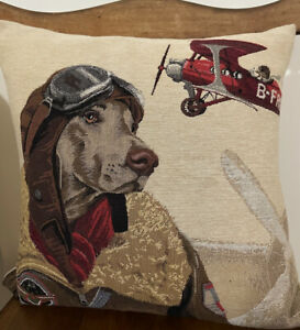 Dog Fighters Belgian Tapestry Decorative Pillow 18x18 Inches.