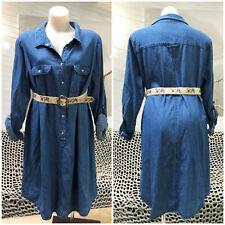 AUTOGRAPH DENIM SHIRT DRESS 18 WINTER long sleeve POCKETS blue 100% COTTON plus