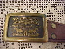 Men's Belt Levis Strauss San Francisco Original Riveted On Belt Buckle Size 36