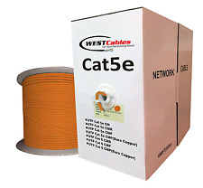 1000ft Bulk Cat5e Plenum Cable 24AWG‎ Solid CMP Ethernet  Orange