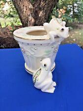 LENOX Petals & Pearls GREEN BULLFROG Vase Planter Emerald Eye 24 KT GOLD ❤️j8