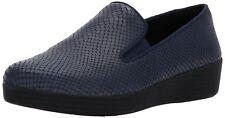 Fitflop Midnight Navy Blue Snakeskin Leather Superskate Comfort Loafer Size 9M