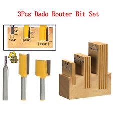"3 Bit Undersize Plywood Dado Router Bit Set 1/4"" Shank 1/4, 1/2, 3/4 for Plywood"