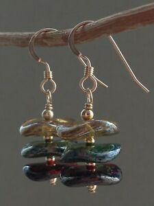 Czech Multi-Colour Lustre Wavy Glass Beads 14ct Rolled Gold Earrings