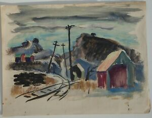 Along the Tracks on a Sunny Day -Oil Painting-1930s/40s-Louis Bosa