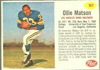 1962 Post Football Card #167 Ollie Matson-Los Angeles Rams-Hall of Fame.