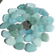 Surf-Tumbled GENUINE Sea glass Beautiful Beach Glass Jewelry/Crafts Blue h12