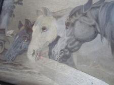 "VINTAGE HAND EMBROIDERY ON SILK PAINTING ART THREE HORSES 16 1/2  12 1/2"""