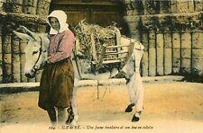Carte Ile de Ré Une Jeune insulaire et son âne en culotte