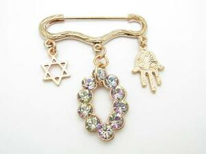 Rose Gold Plated Hand Of God Evil Eye Hamsa Kabbalah Baby Pin For Stroller Gift