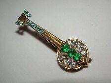 """Vintage Gold Green Light Blue Clear Rhinestones Banjo Guitar Brooch Pin 2"""""""