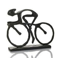 Bicycle Ornament Cast Iron Naive Racing Cyclist Sculpture Ornament Gift New