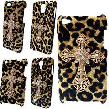 3D Bling Luxury Leopard Gold Diamond Cross Back Hard Skin Case Cover for Phones