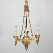 Vintage French Gilded Wood Chandelier, Braided Cords and Tassel