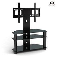 Black Tempered Glass TV Stand Chrome TV Bracket LCD Plasma LED With Shelves