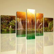 Huge Canvas Lake HD Waterfall Landscape Tree Forest Sunset Glow Wall Art Design
