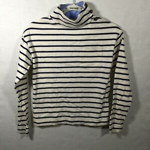 Vineyard Vines Womens Pullover Sweater  Button Blue Striped Shep Shirt XXS