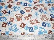 Skelanimals Flannel Fabric Puppies Puppy Love in Blue on white BTY