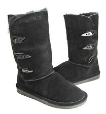 "BEARPAW WOMEN'S ""SARAH"" 10"" WINTER BOOT BLACK LTHR US SZ 7 MEDIUM (B)M PRE-OWNED"