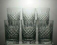 "EDINBURGH CRYSTAL CUT GLASS 10 OZ TUMBLERS SET OF 6 - 4"" (10.5 cm) TALL"